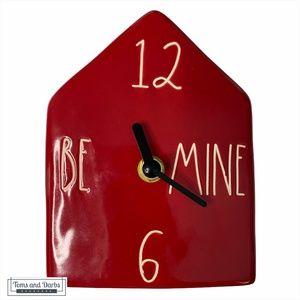 Rae Dunn Ceramic BE MINE Red House Clock